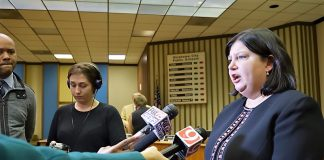 Aurora Lora speaks to media about principal issues