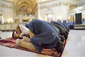 Muslims praying - rotunda - Oklahoma Capitol