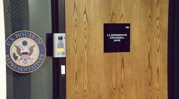 Rep Steve Russell's office door
