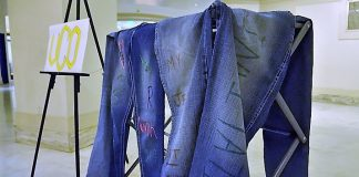 Denim Day display at Ok Capitol