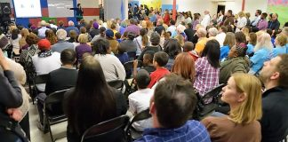 Parents at Edgemere listen to explanation of closure plan in March