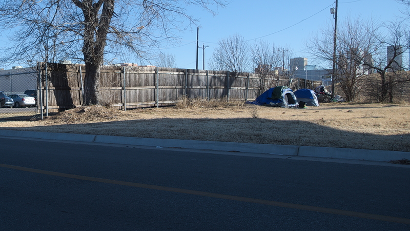 homeless camp west of downtown
