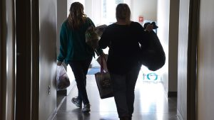 Volunteers Ashley Marshall (L) and Kim Grate head back out to continue the homeless count Thursday