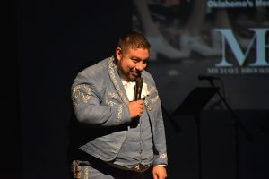 Robert Ruiz talks to the audience Mariachi festival