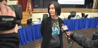 OKCPS bd mtg 2-12-18 Rebecca Kaye meets the media