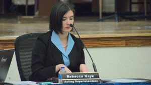 Rebecca Kaye, acting superintendent, explains her plans for split-grade classrooms during her report at the board meeting Monday (Brett Dickerson)