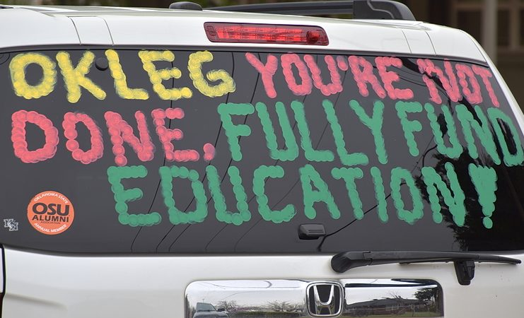 First day teacher walkout 2018 car window sign