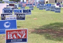 Campaign signs south