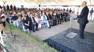 Ceremony before the groundbreaking new Convention Center