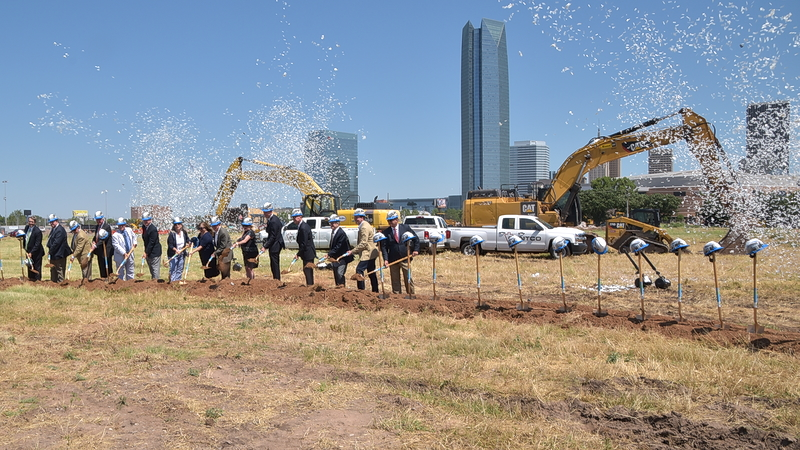 Confetti at ground breaking for Convention Center